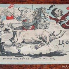 Postales: MONARQUIA, ALFONSO XIII, ANTIGUA POSTAL SATIRICO POLITICA CARICATURA CON MOTIVO DE LA VISITA DE N. Lote 55885563
