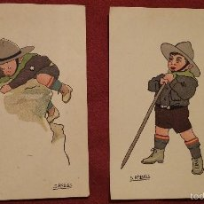 Postales: 1928 - LOTE 2 TARJETAS POSTALES CON DIBUJO DE BOY SCOUTS. Lote 56659151