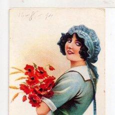 Postales: POSTAL BELLA SEÑORITA RAMO FLORES EDITO MILLEN EDITADA EN LONDON SERIE Nº 706/6 ESCRITA EN AÑO 1914. Lote 56975137