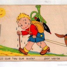 Postales: POSTAL DE DIBUJO SUBIR ASNO A UNA CUESTA DIBUJO M D VALLVERDÚ EDITOR AGUIRRE ESCRITO EN AÑO 1940. Lote 57016732