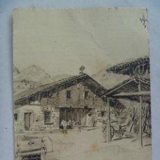 Postales: POSTAL DIBUJO DE CASERIO VASCO , DE LERCHUNDI . CIRCULADA DE CADIZ A SEVILLA , 1973. Lote 98718736