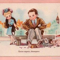 Postales: POSTAL DE DIBUJO QUIEN ESPERA DESESPERA DIBUJO LAR EDITOR C M B ESCRITA EN AÑO 1947. Lote 58477048