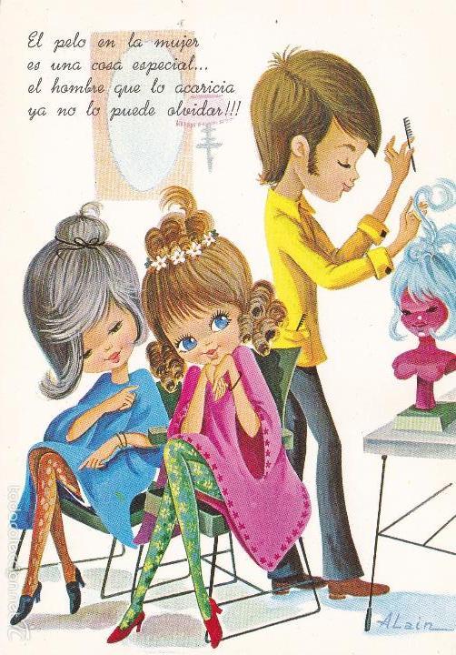 Ilustrador Alain Nº 6983 Chicas En Peluqueria Vendido En