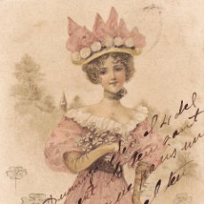 Postales: DAMA MODERNISTA. POSTAL CIRCULADA. 1905. SIN DIVIDIR.. Lote 59496763