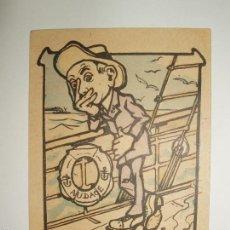 Postales: FOTO, POSTAL CARICATURA HOMBRE EN BARCO. EN MER POUR LA 1º FOIS. SIN CIRCULAR. Lote 61145243