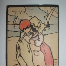 Postales: FOTO, POSTAL CARICATURA CATALANES BESANDOSE EN LA PLAYA. CIRCULADA. P.P. 1900. Lote 61145387