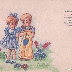 Postales: POSTAL DIBUJO NIÑOS, MATRIMONIO INFANTIL. FIRMADA ANA MARIA. POSTALES BEA, SERIE VIII. ZUGEL. Lote 61886524