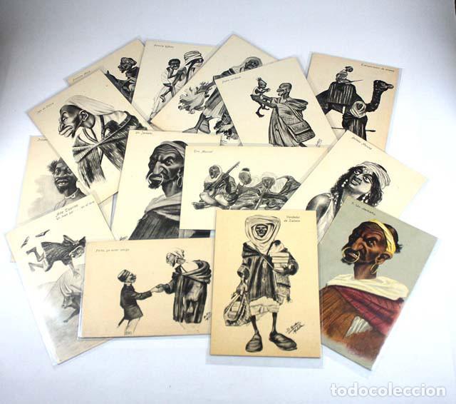 IMPRESIONANTE COLECCION DE 14 POSTALES DE MOROS EDICION BOIX HERMANOS MELILLA, VER DESCRIPCION (Postales - Dibujos y Caricaturas)