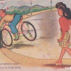 Postales: POSTAL DIBUJO CARICATURA CICLISTA ILUSTRADA MORADELL REFRANERO POPULAR SERIE 109/10. BENISI. Lote 62367064