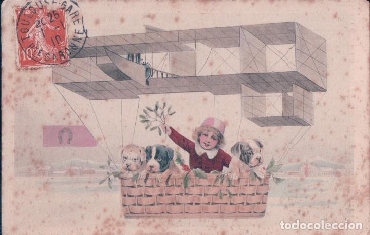 POSTAL CARICATURA NILO CON PERROS EN UN GLOBO. CIRCULADA 1910 (Postales - Dibujos y Caricaturas)
