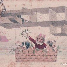 Postales: POSTAL CARICATURA NILO CON PERROS EN UN GLOBO. CIRCULADA 1910. Lote 64050611