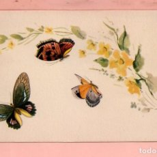 Postales: POSTAL DE DIBUJOS DE TRES BONITAS MARIPOSAS SIN CIRCULADA . Lote 64433227