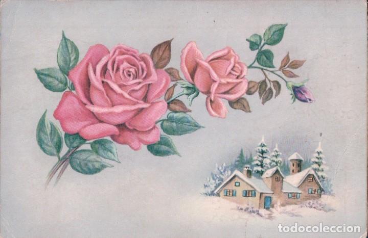POSTAL ROSA - CASA - NIEVE (Postales - Dibujos y Caricaturas)