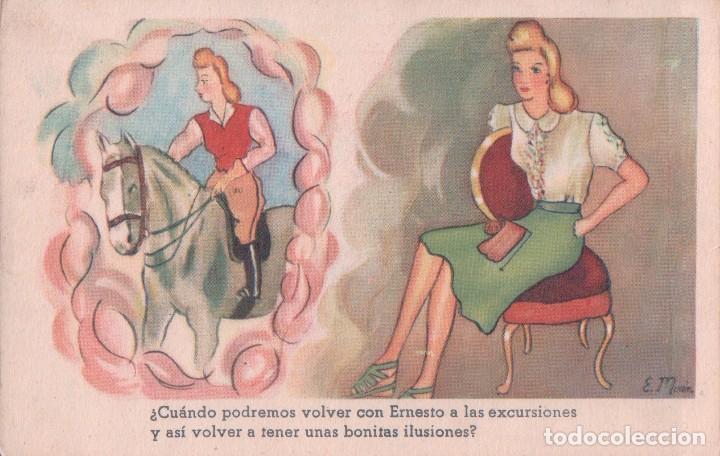 POSTAL CARICATURA MUJER - CABALLO - FIRMADO E MORAN (Postales - Dibujos y Caricaturas)
