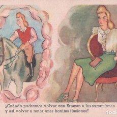 Postales: POSTAL CARICATURA MUJER - CABALLO - FIRMADO E MORAN. Lote 65674690