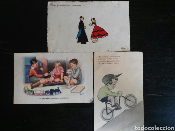 POSTAL AÑOS 41/44 LOTE DE TRES POSTALES. DIBUJO (Postales - Dibujos y Caricaturas)