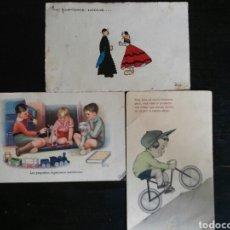 Postales: POSTAL AÑOS 41/44 LOTE DE TRES POSTALES. DIBUJO. Lote 65913251