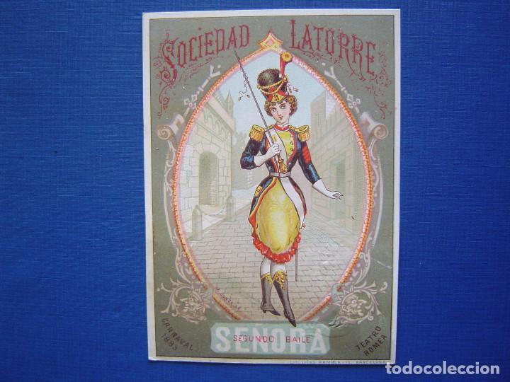 TEATRO ROMEA SOCIEDAD LATORRE , CARNAVAL 1883, BAILES DE MASCARAS - INVITACIÓN PASE (Postales - Dibujos y Caricaturas)
