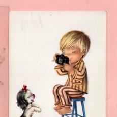 Cartoline: POSTAL DE DIBUJO NIÑO FOTÓGRAFO PERRO DIBUJO CONSTANZA EDITOR C.YZ. ESCRITO EN AÑO 1968. Lote 69710921
