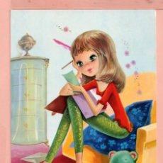 Cartoline: POSTAL DE DIBUJO NIÑA LEYENDO DIBUJO ARIAS.EDITOR CYZ ESCRITA EL AÑO 1971. Lote 70428033