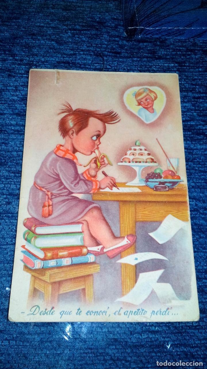 DIBUJO NIÑO ESCRIBIENDO CARTA DE AMOR - EDITORIAL FHER - CIRCULADA - AÑOS 40 (Postales - Dibujos y Caricaturas)