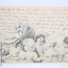 Postales: ANTIGUA POSTAL ILUSTRADA POR R. WICHERA - NIÑOS JUGANDO - CIRCULADA. REVERSO SIN DIVIDIR - AÑO 1902. Lote 71881327