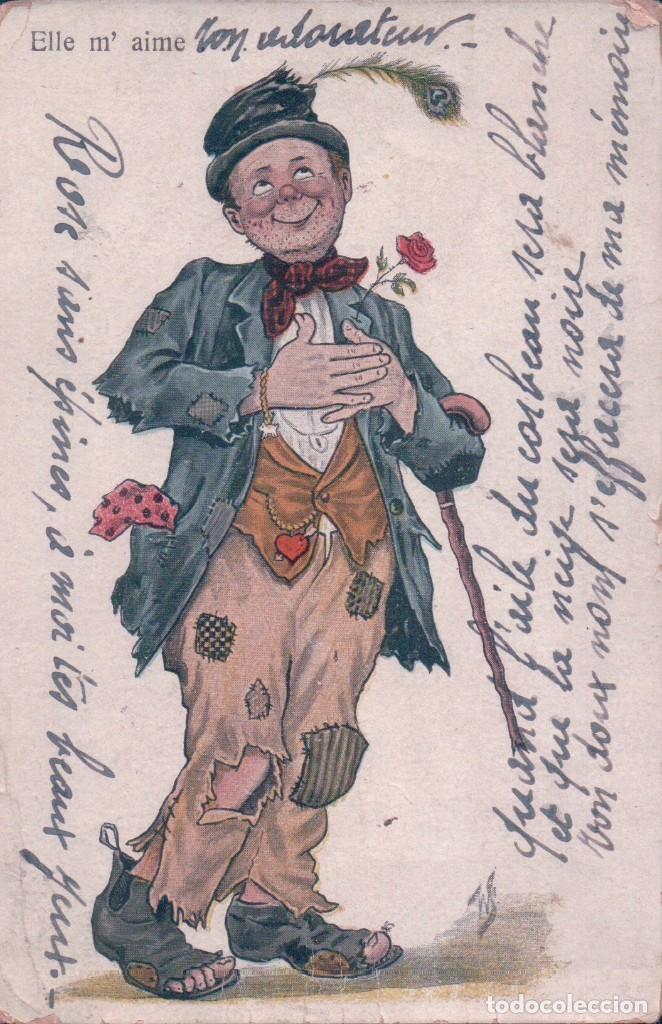 POSTAL CARICATURA BORRACHO ENAMORADO - CIRCULADA (Postales - Dibujos y Caricaturas)