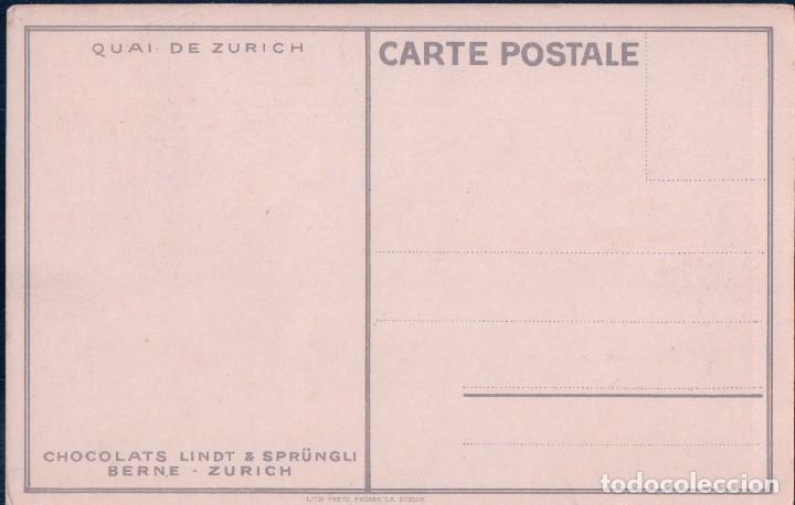 Postales: POSTAL DIBUJO PAISAJE BARCO - MONTAÑAS NIEVE - PIBLICIDAD CHOCOLATE LINDT ZURICH - Foto 2 - 75111055