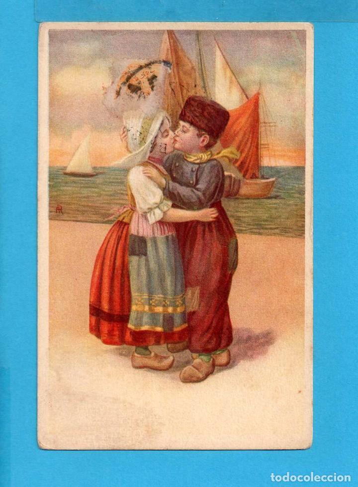 Postal De Dibujos De Extranjero De Pareja De Enamorados Edito Italia Circulada Sin Sello 1922