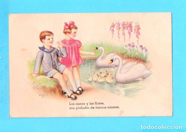 POSTAL DE DIBUJOS PAREJA CON LOS CISNES DIBUJO Z OLOT EDICIÓN CMB SERIE Nº 49 ESCRITA (Postales - Dibujos y Caricaturas)