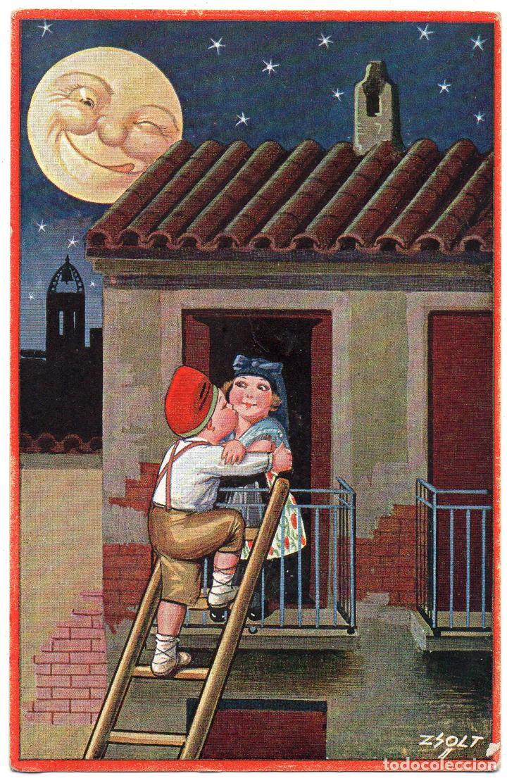 PS7441 POSTAL CARICATURESCA 'IDILI NOCTURN'. ZSOLT. ED. VICTORIA. CIRCULADA. AÑOS 30 (Postales - Dibujos y Caricaturas)