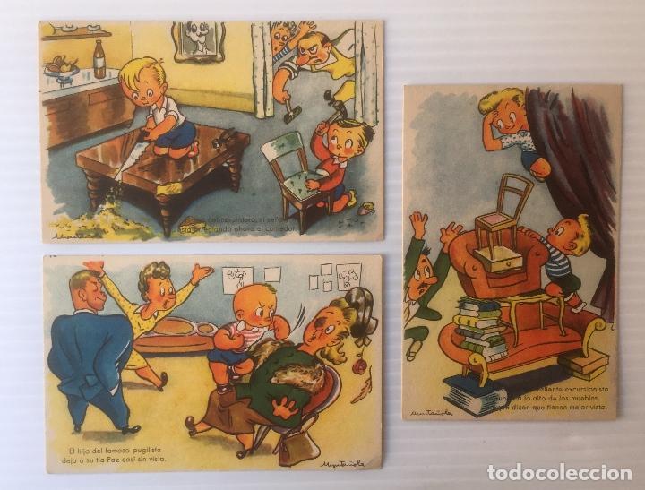 LOTE DE 3 POSTALES ILUSTRADAS POR MUNTAÑOLA. NO CIRCULADAS. (Postales - Dibujos y Caricaturas)