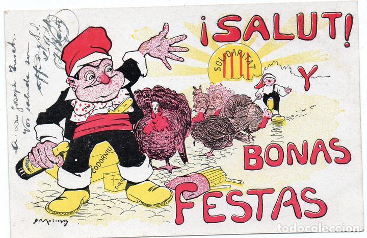 PS7515 POSTAL DE FELICITACIÓN CATALANISTA. S. MOLINS. CIRCULADA. PRINC. S. XX (Postales - Dibujos y Caricaturas)