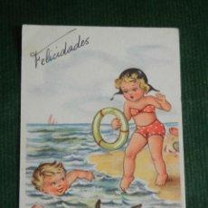 Postales: ANTIGUA POSTAL ITALIANA - NIÑOS BAÑISTAS Y PERRO - 314/4 - ESCRITA EN 1958. Lote 83670716