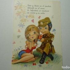 Postales: OSTAL PAREJA MILITAR - ESCRITA C Y Z DIBUJO ARIAS. Lote 84867400