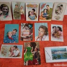 Postales: LOTE DE 11 POSTALES ROMÁNTICAS ANTIGUAS CON PORTA POSTALES AÑOS 40- 50-60 (VER FOTOS). Lote 86130940