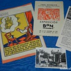 Postales: POSTAL + FOLLETOS DIBUJANTE BON CON DEDICATORIA AUTOGRAFA - EXPOSICION INTERNACIONAL DE BARCELONA. Lote 86287344