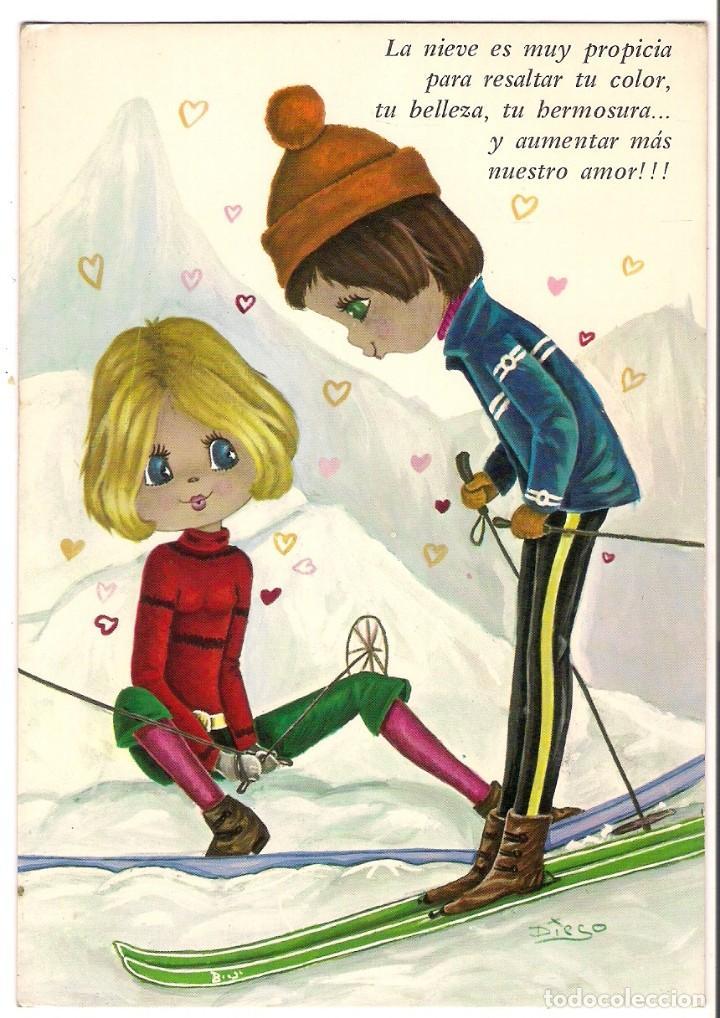 67297 Postal Dibujo Niña Y Niño Enamorados En Vendido En Venta