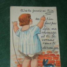 Postales: ANTIGUA POSTAL PROMOCIONAL NIZA - BLUSA PRACTICABLE A FALTA DE LA VISTA DE DEBAJO .DELBOT, MIRECOURT. Lote 92051425