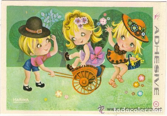 44061 Postal Dibujo Niñas Jugando En El Campo Vendido En Venta