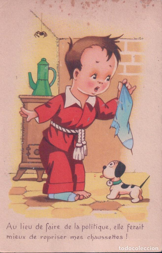 POSTAL DIBUJO CARICATURA NIÑO - PERRO - ARAÑA - CALCETIN - (Postales - Dibujos y Caricaturas)