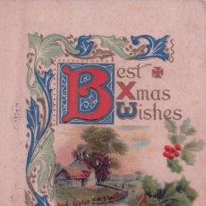 Postales: POSTAL DIBUJO FLOR DE PASCUA - BEST XMAS WISHES - NAVIDAD. Lote 94489726