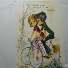 Postales: POSTAL CYZ DIBUJO ARIAS PAREJA EN BICICLETA - ESCRITA. Lote 95535191