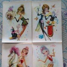 Cartes Postales: LOTE 4 SIMPÁTICAS POSTALES, A ESTRENAR AÑOS 60 Y 70 REF. 13490 ANCORA LUSTRACIÓN LAZBA*. Lote 111907684