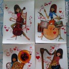 Cartes Postales: LOTE 4 SIMPÁTICAS POSTALES, A ESTRENAR AÑOS 60 Y 70 REF. 13485 ANCORA ILUSTRACIÓN BARRAGUER*. Lote 111908780