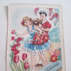 Postales: POSTAL NIÑOS CON PERRO - FELICIDADES - 1956 - ILUSTRADA POR FREIXAS. Lote 115102202