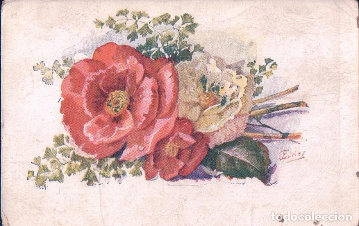 Flores En Dibujo A Color: Postal Dibujo Flores De Colores
