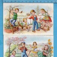 Postales: SEIS POSTALES DE NIÑOS CUIDANDO EL HUERTO EDICIÓN Nº 2122 / E SIN CIRCULAR. Lote 121031575