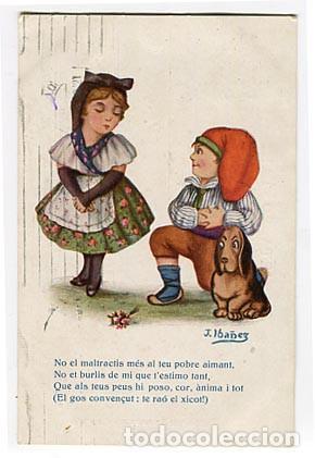 POSTAL ILUSTRADA NIÑOS. CARICATURA. J. IBAÑEZ. CATALUÑA . EDICIONES VICTORIA. Nº 528. ESCRITA (Postales - Dibujos y Caricaturas)