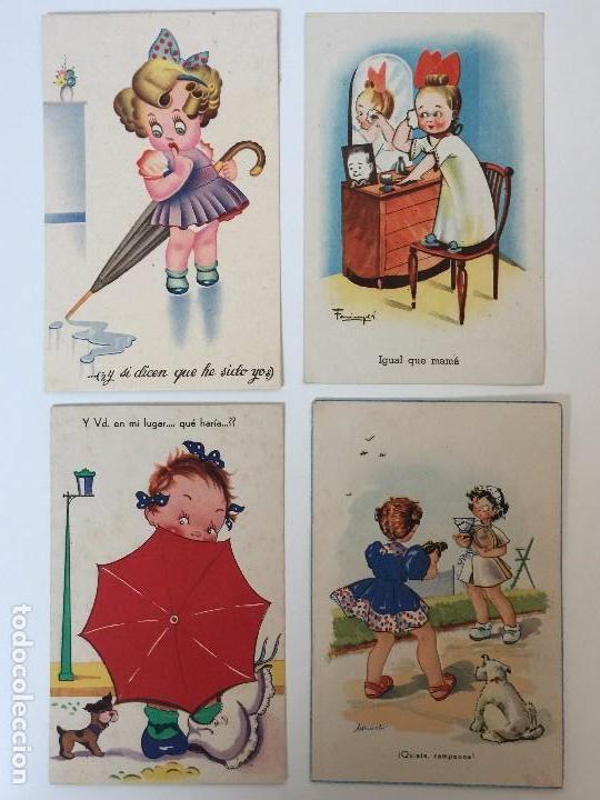 LOTE POSTALES HUMORÍSTICOS INFANTILES AÑOS 40 (Postales - Dibujos y Caricaturas)